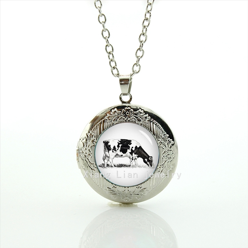 2017 Real Maxi Necklace Collier Collares Dairy Cow Pencil Art Pendant Necklace Animal, Ciw, Wedding Groom Locket For Kids T355