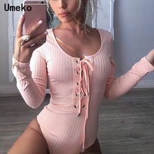 Bodycon Bodysuit Women Long Sleeve Bandage Solid Color Casual Rompers Round Neck