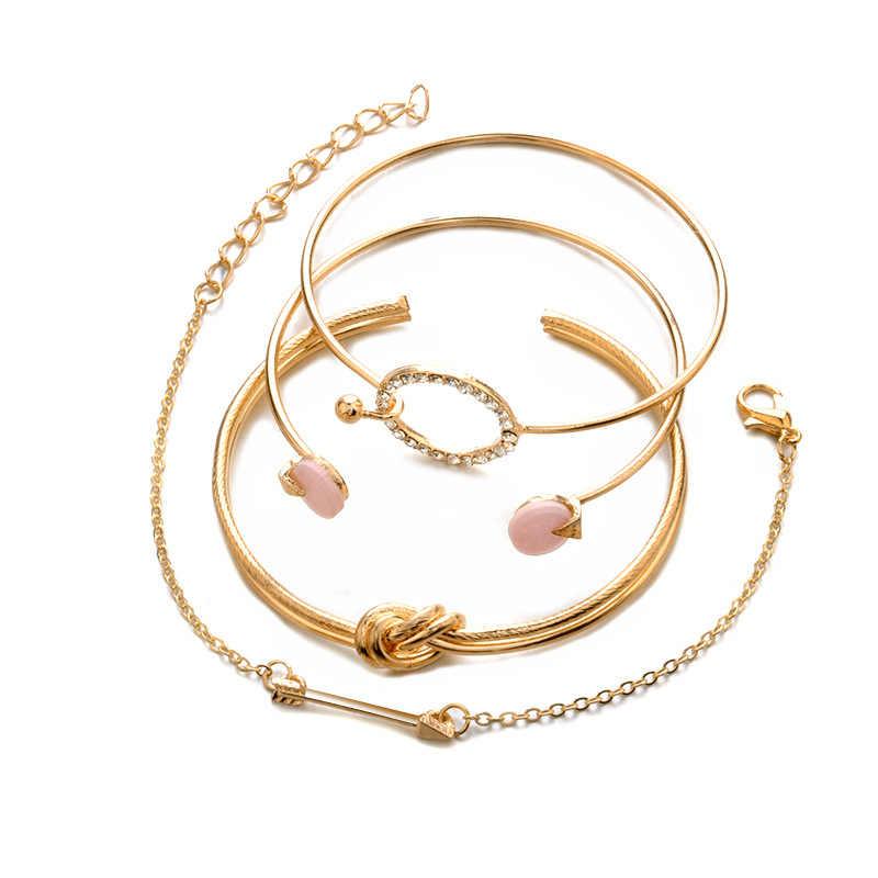 4 unids/set de brazalete Vintage bohemio con bola de nudo de oro, brazalete abierto de oro para mujer, accesorios de fiesta de boda, joyería de declaración 2018