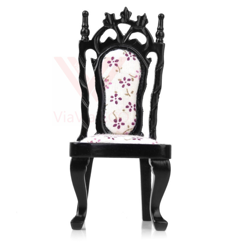 oMoToys VIAVIA ECO 1:12 Dollhouse Miniature Royal Black Wooden Chair Furniture for Doll House Decoration