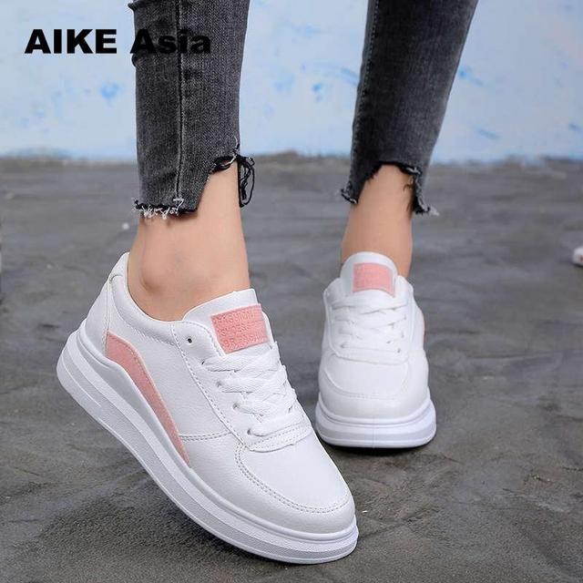 0fa72c9911 Aliexpress.com : Buy 2018 Spring New Designer Wedges White Shoes Female  Platform Sneakers Women Tenis Feminino Casual Female Shoes Woman from  Reliable ...