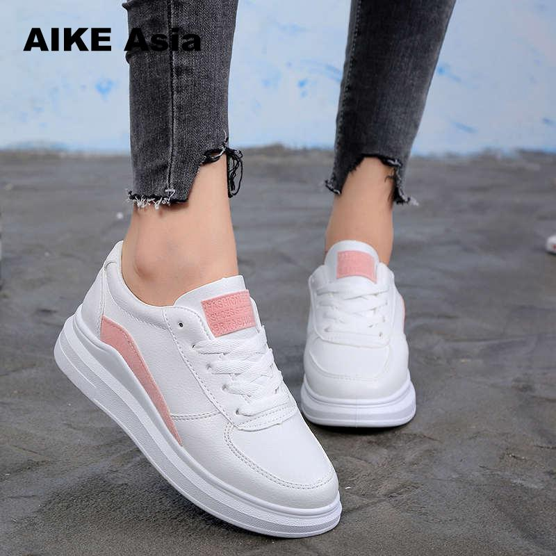 2018 Spring New Designer Wedges White Shoes Female Platform Sneakers Wo
