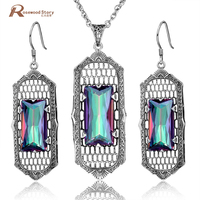 Fashion Jewelry Solid 925 Sterling Silver Set Luxury Mystic Rainbow Austria Crystal Vintage Pendant Earring Jewelry Sets