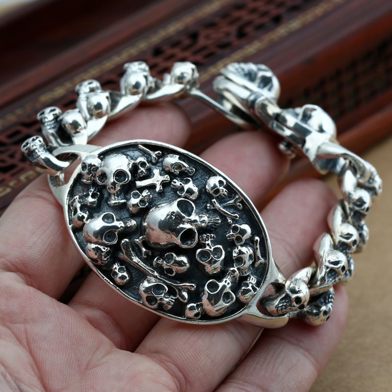 Factory wholesale silver jewelry S925 Mens Silver Skull Head Skull Bracelet and personality