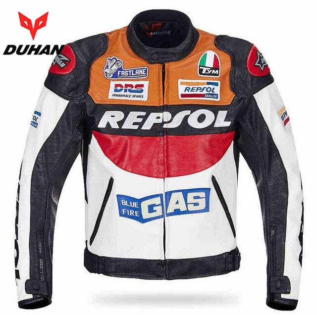 33362dc93 € 59.78 17% de réduction|DUHAN moto GP moto rcycle REPSOL veste en cuir de  course VS02 orange bleu M L XL XXL 3XL bon cuir pu fait de haute ...