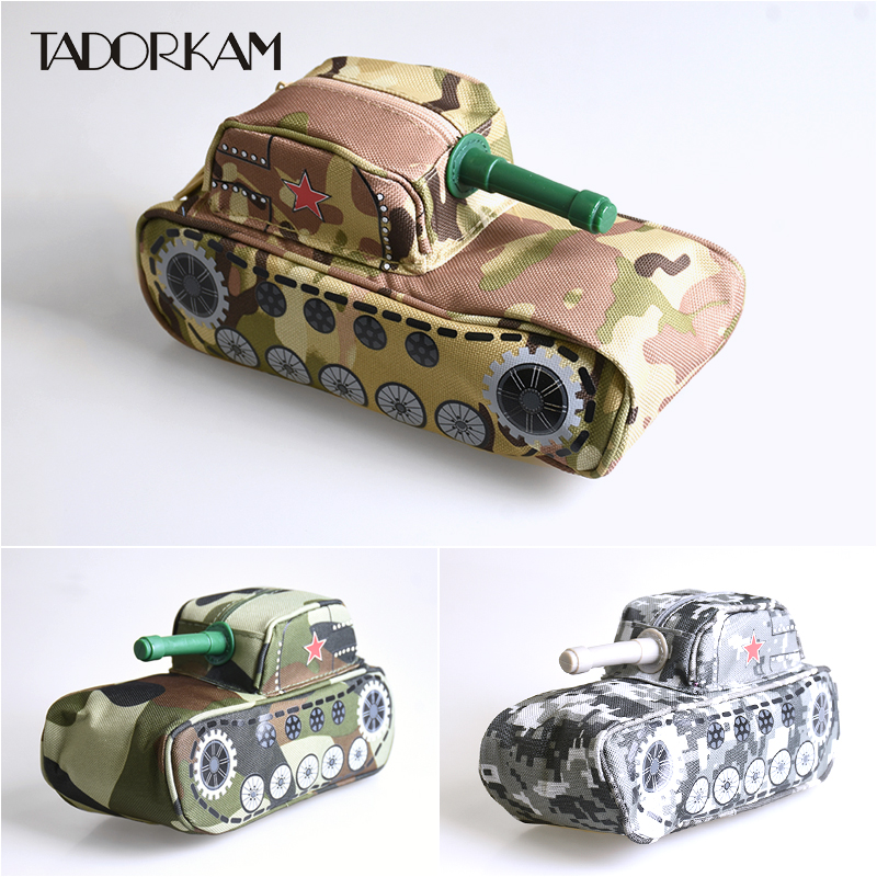 Tank Pencil Case With Lock Cross-country Camouflage Canvas Pencil Bag Children Gift Student Confidentiality Stationery Supplies big capacity high quality canvas shark double layers pen pencil holder makeup case bag for school student with combination coded lock