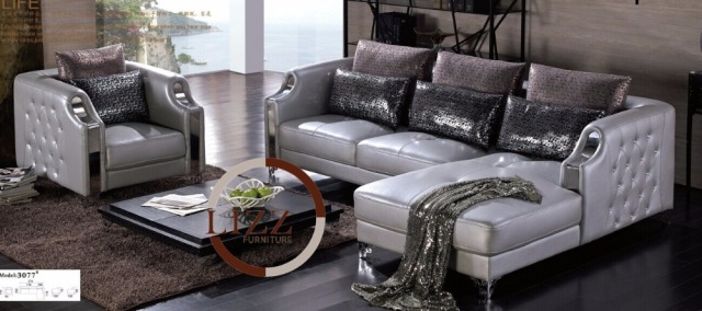 Silver Furniture Home Corner Sofa China LBZ 3077# High Quality Leather Sofa  Modern Sofa