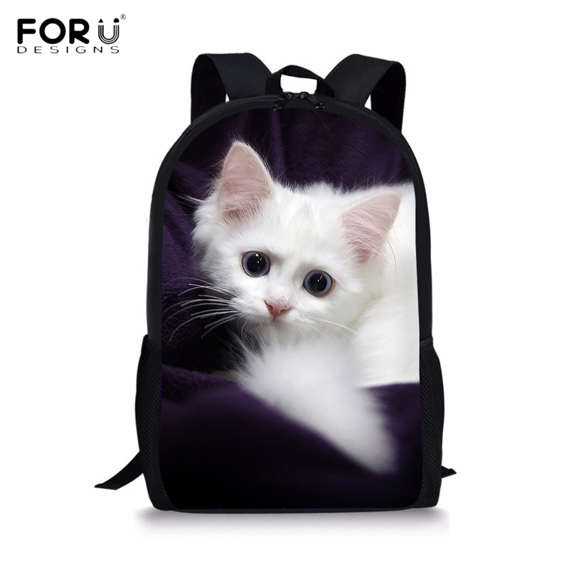 FORUDESIGNS Cute 3D Cat/Kitten Print Children School Bags for Boys Girls Casual Large Lap Top Backpacks Primary Students Satchel casual style print and canvas design satchel for women