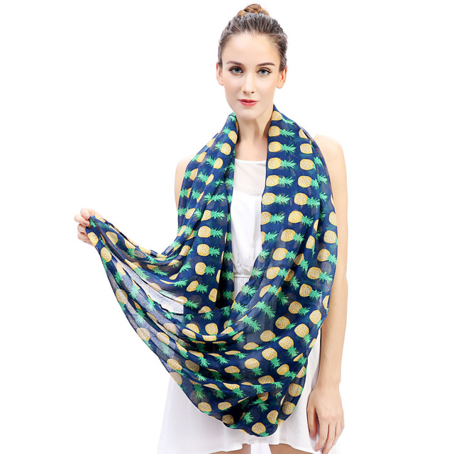 Pineapple Fruit Print Infinity Scarf Snood Women's Party Event Accessories Gift for Her