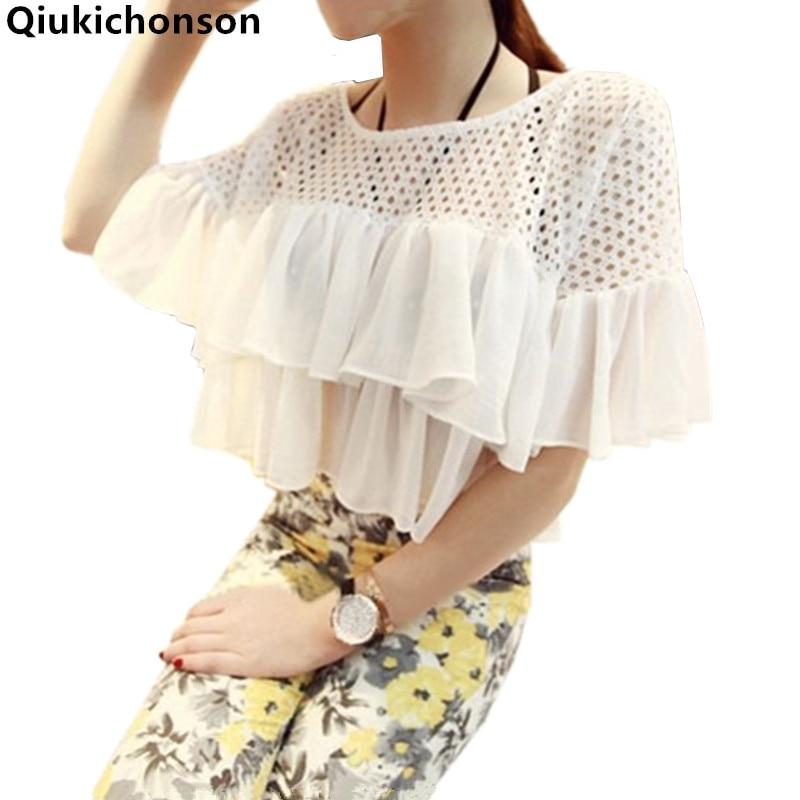Qiukichonson White Shirt Women 2018 Korean Fashion Sweet Ladies Summer Tops Hollow Out Patchwork Ruffle Chiffon Blouse Crop