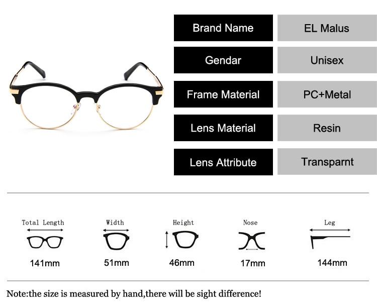 2052683ebf EL Malus Oval Semi Rimless Eyeglasses Frame Women Mens Clear ...