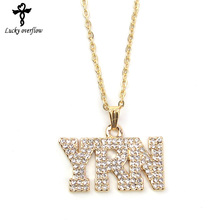 2018 Fashion Women Simple Hollow Necklace Gold Rhinestone YRN Design Letter Pendant Jewelry Chain Necklaces Bling Jewelry Gift