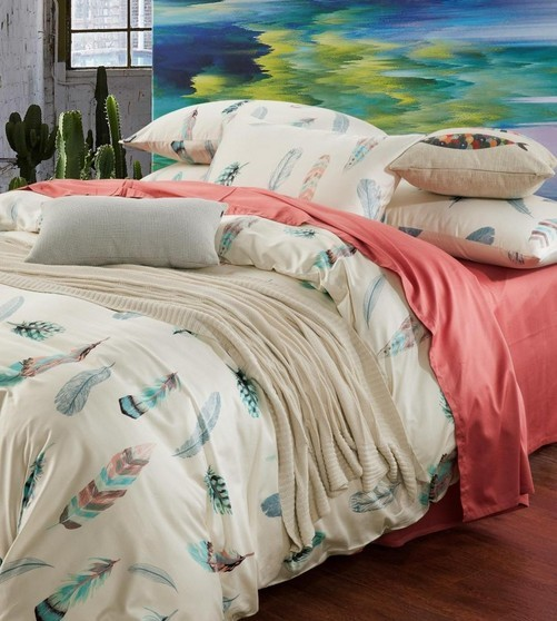 Elegant Colorful Feather Bedding Set King Size Queen Full Double Pink Bed Sheets  Quilt Duvet Cover Bedspread