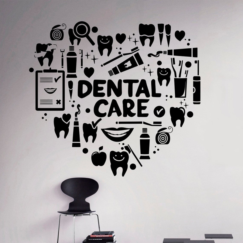 Dental Care Heart Creative Pattern Removable Wall Stickers For Dental Clinic Background Art Decoration Vinyl Wallpaper Art L786 Wall Stickers Aliexpress