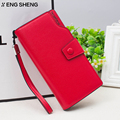 HENGSHENG brand female purse Hasp Coin Purses Red Leather Wallets women business Card Holder women clutch wristlet Lady wallet