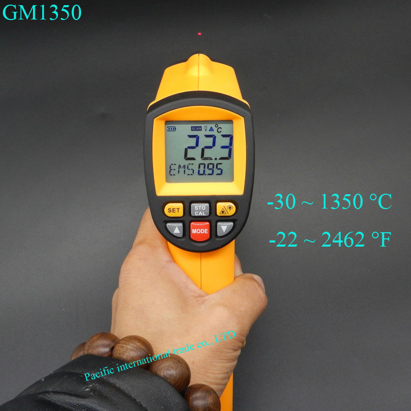 Non-contact infrared thermometer GM1350 Laser IR Thermometer LCD digital  infrared  Pyrometer  -30~1350 degree 2017 bside btm21c infrared thermometer color digital non contact ir laser thermometer k type 30 500 led
