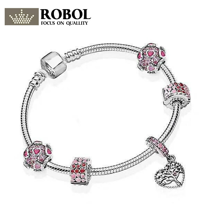 ROBOL New Arrival 100% 925 Sterling Silver Simple Bracelet For Women With Heart Chain Charms Beads Fashion Jewelry Original simple heart letter k bracelet for women