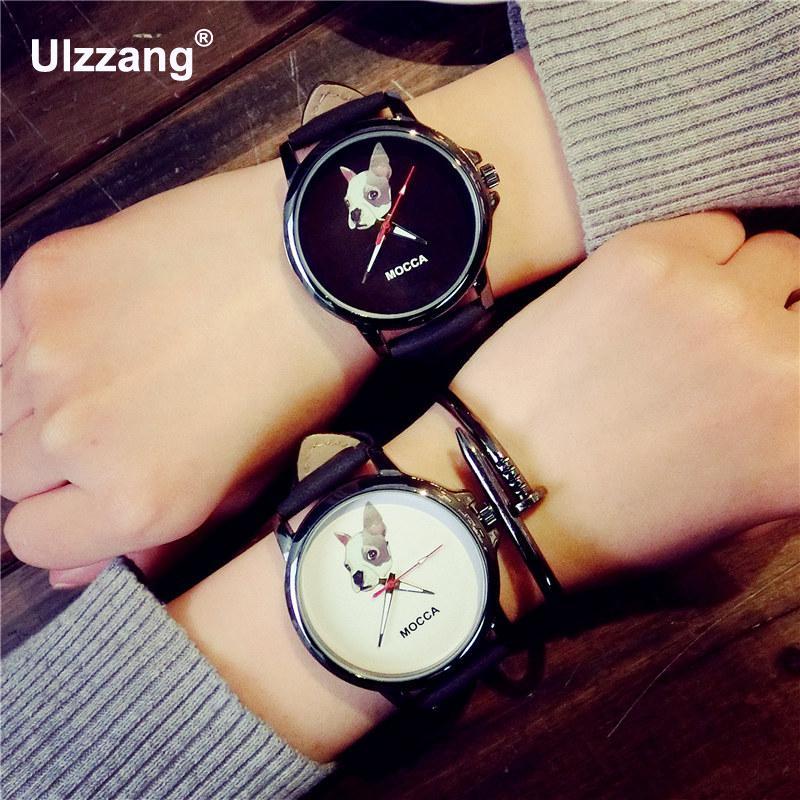 Fashion Cute MOCCA Dog Leather Shockproof Black Quartz Watch Wristwatches for Women Ladies Boy Young цена и фото