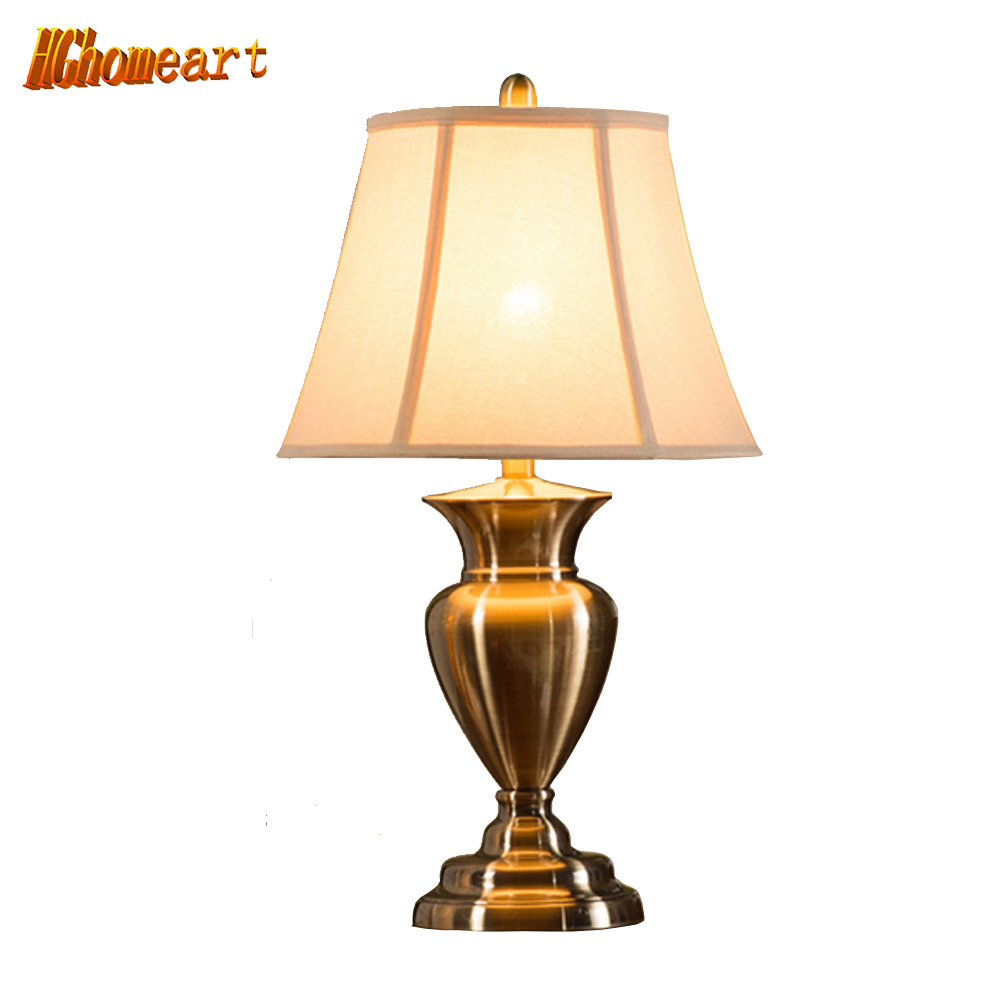 Hghomeart After The High-grade Copper Continental Retro Desk Lamp Table Lamp Decorated Luxury Living Room Bedroom Bedside
