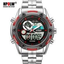 10017e91eee Moda esportes dos homens esportes dual display analógico digital led quartz  relógios de pulso do exército militar relógio de aço.