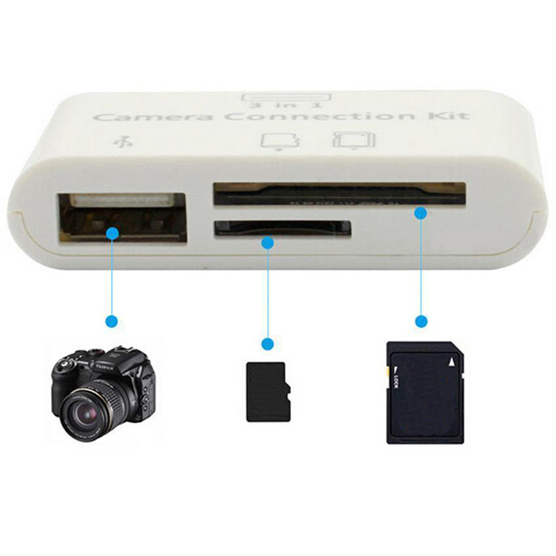 Card Reader For Tablet IPad 4 Mini IOS 11 Micro SD SD MMC TF Card Reader USB OTG Cable Adapter Camera Connection Kit 3 In 1