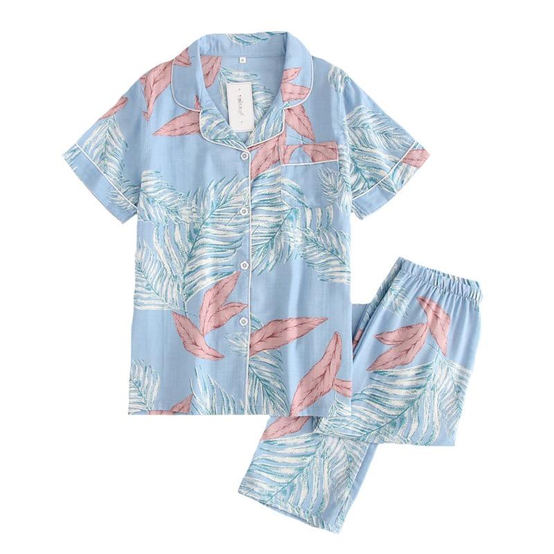 Ladies   Pajamas     Set   Floral Printed Turn-down Neck 100% Gauze Cotton 2Piece   Set   Women Sleepwear Simple Style Homewear Casual Wear