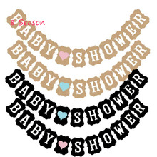 8Season Paper Baby Shower Banner Bunting Garland its a girl Boy Balloons Pink Blue Black Happy Birthday Party Decorations