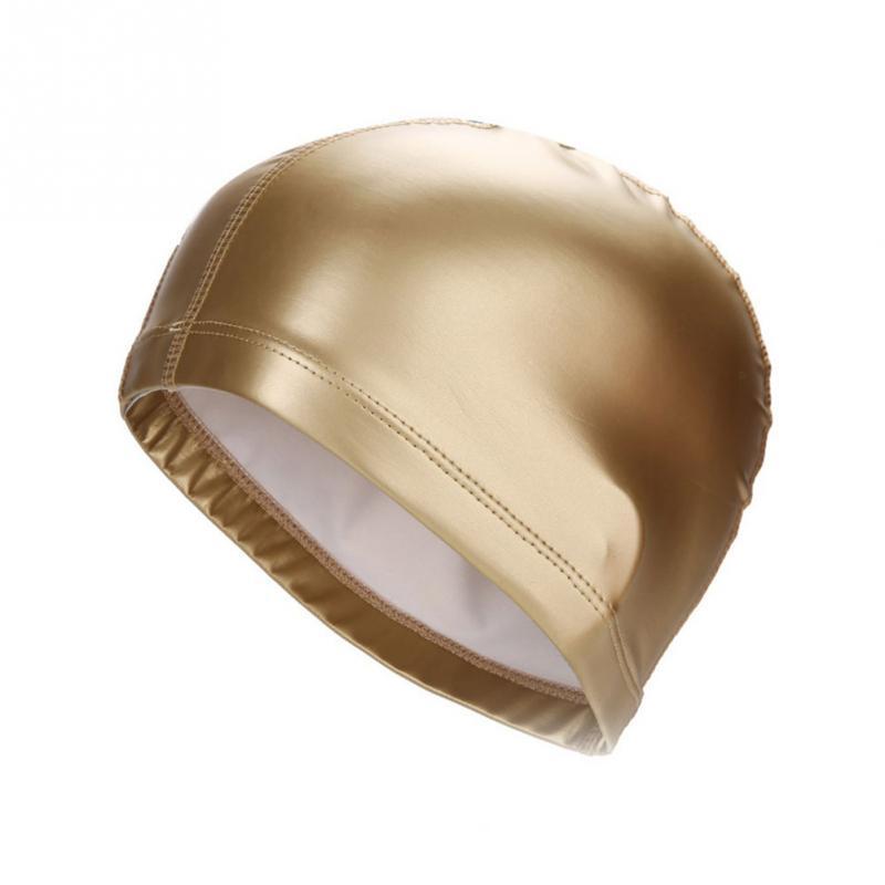 Elastic Waterproof PU Fabric Protect Ears Long Hair Sports Swim Pool Hat Swimming Cap Free size for Men & Women Adults