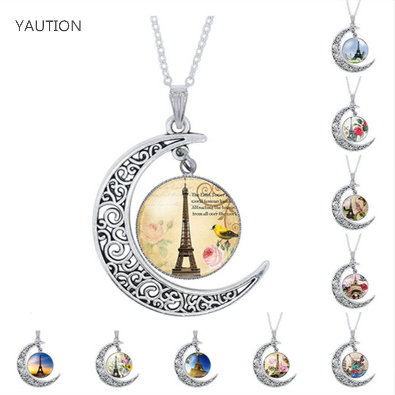YAUTION Eiffel Tower Silver Color Jewelry Fashion Moon Statement Necklace Glass Galaxy Collares Necklaces & Pendants For Women