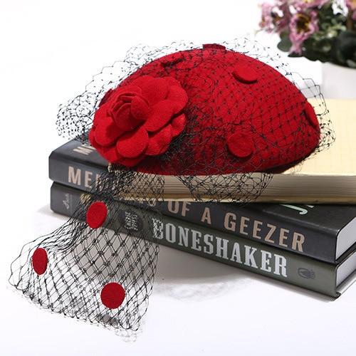 High End Fashion Ladies Party Wool Fedora Cap Veil Flower ...