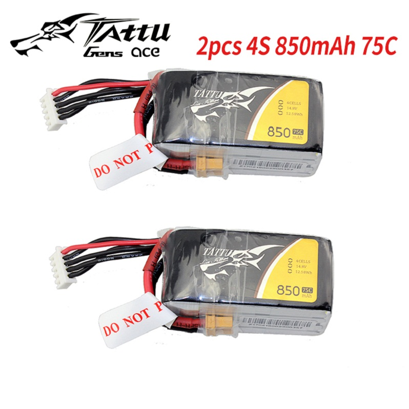 2 Pack TATTU 3S Lipo Battery 850mAh 75C Battery 11.1V XT30 Plug 58MM*29MM*21MM FPV Frame Drone Quadcopter Helicopter RC Car image