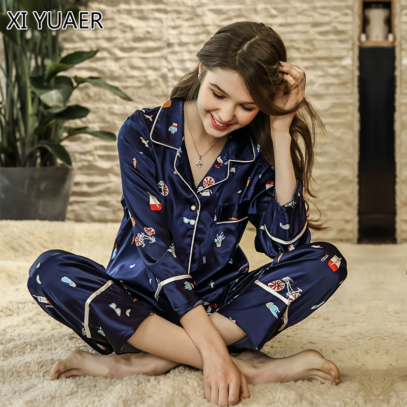 XI YUAER Women Pajamas Satin Sleepwear Pijama Home Wear Silk Pyjama Home Suit Flower Print Sweet Cute Home Clothing Sleep Lounge