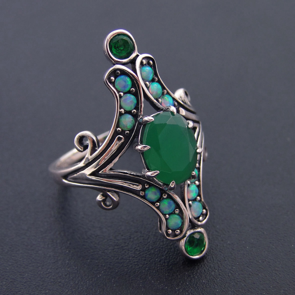 Fine 100% 925 Sterling Silver Jewelry Women Rings For Women Jewelry Green Stone Bands Wedding Ring Party Jewelry Size 6/7/8/9/10