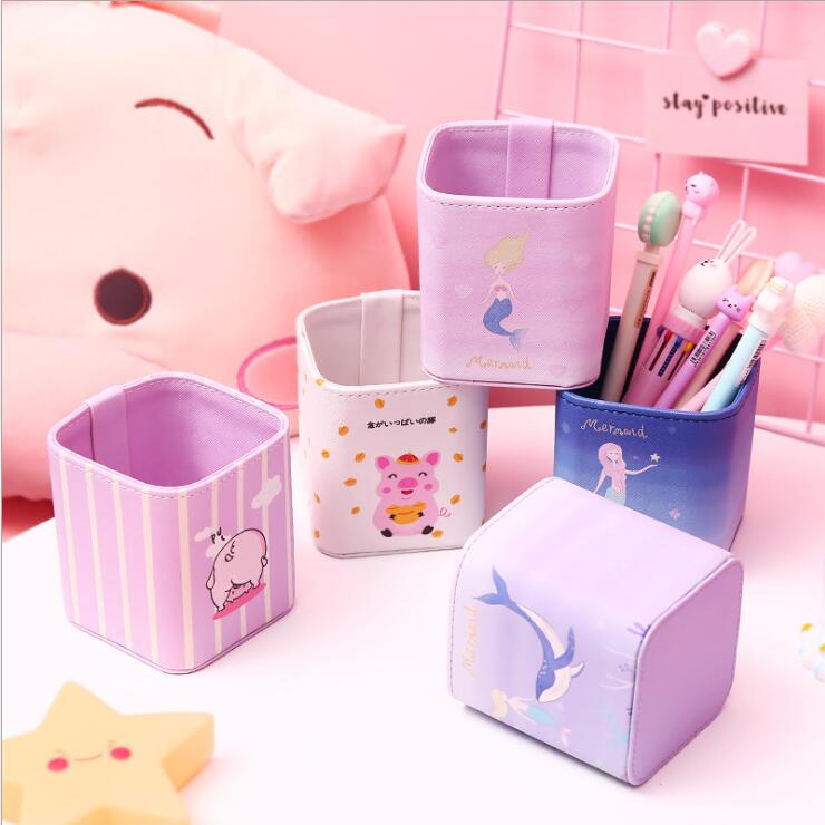 2019 Kawaii Cartoon PU Leather Pencil Holder Desk Storage Organizer Container Box School Office Stationery Kids Birthday Gift