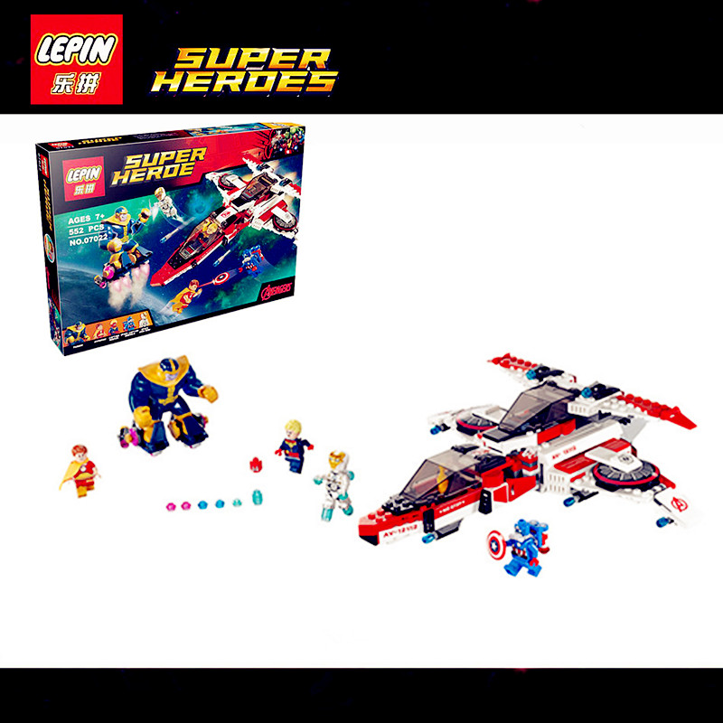 IN STOCK 552pcs 2016 LEPIN 07022 SuperHeroes Avengers aircraft Avenjet Space Mission assembly educational building block 76049 samsung rs 552 nruasl
