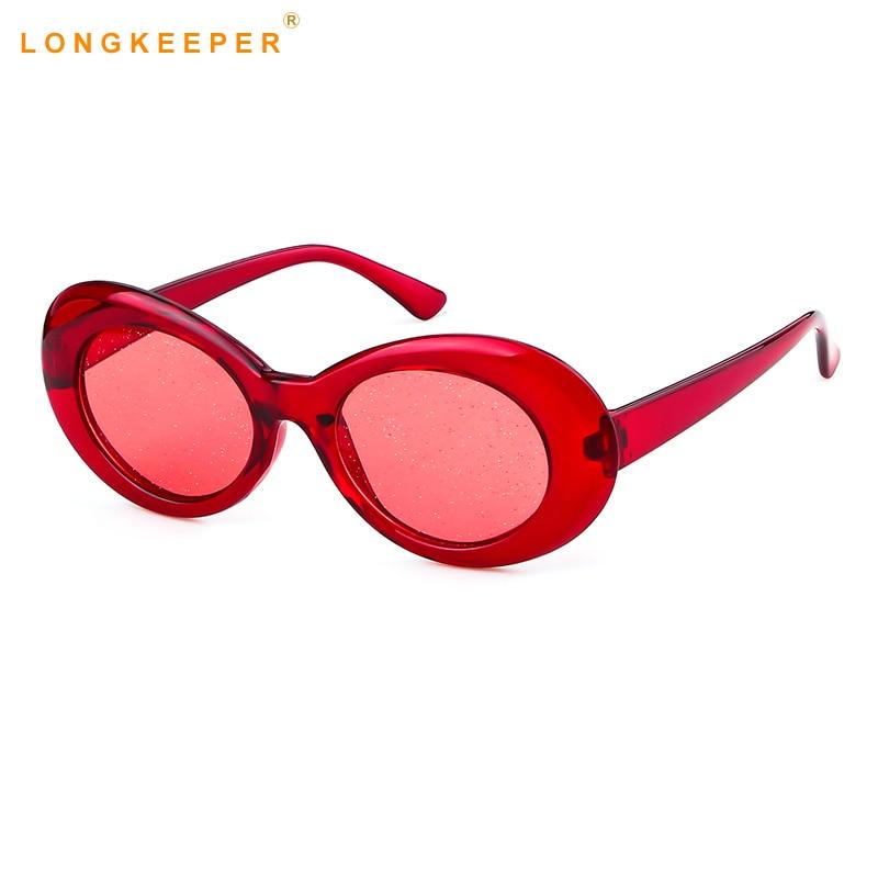 632b011635d Oval Sunglasses Women 90s Rave Festival Candy Clear Sun Glasses Men Sequin  Red Pink Eyewear Kurt Cobain Glasses Goggles Glasses