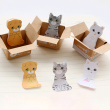 30 листов% 2Fpc 3D Kawaii Cat Box Stickers Sticky Notes Office School Supplies Cute Cartoon Notepad Stationery Memo Pads Scrapbooking