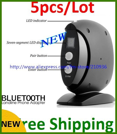 5pcs/lot DHL Bluetooth Landline Phone Telephone Adapter Black Smart Design VoIP