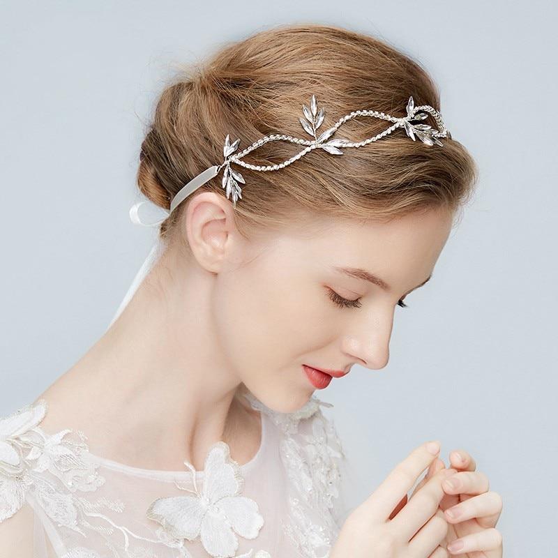 Silver Crystal Leaf Tiara Bridal Headband Wedding Hair Accessories Bridal Headpiece Handmade Ornaments Hairbands Hair Jewelry