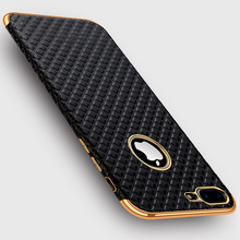 Luxury Plated Frame 3D Bugle Grid Leather Skin Soft TPU Phone Case For iPhone 7 8 X 6 6S Plus Retro Plating Silicone Cover Coque
