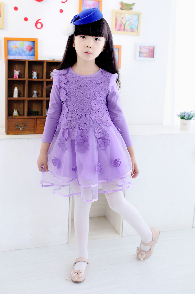 2017 kids Costumes Baby Girls princess wedding party Dresses lace flower dress for girls long sleeve kids clothes baby clothes
