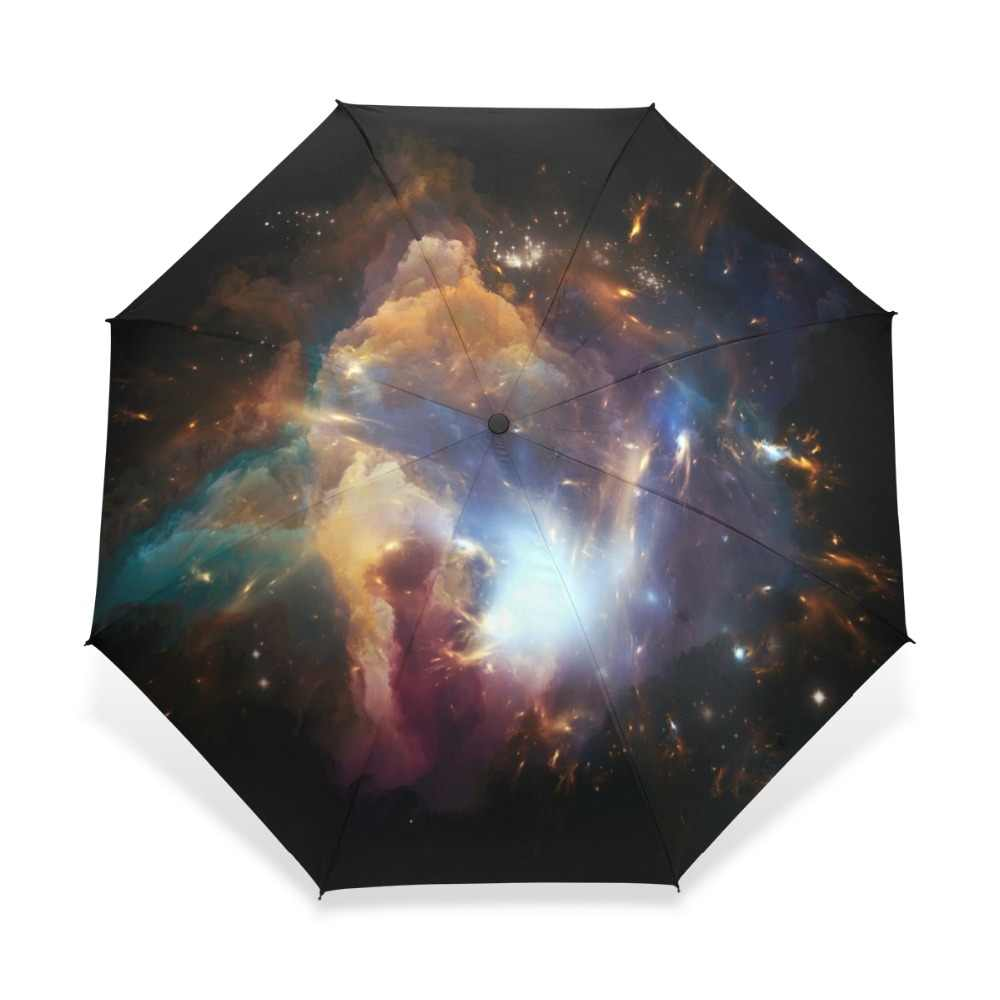 Galaxy Space Universe Astronautics Travel Compact Travel Umbrella Windproof Reinforced Canopy 8 Ribs Umbrella Auto Open And Close Button Customized