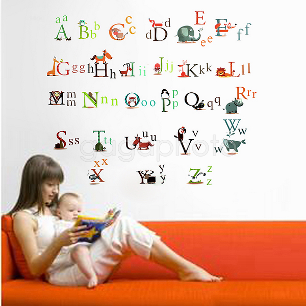 26 animals design alphabet wall stickers baby nursery safe pvc educational decalchina mainland - Baby Wall Designs