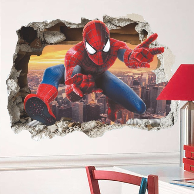 Creativ 3d cartoon wall sticker break wall spider man for childrens room bedroom mural art
