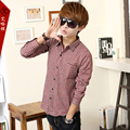 T china cheap wholesale 2016 spring Autumn new male fashion casual shirt slim sanded male long-sleeve plaid shirt men's clothing