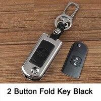 Alliage de Zinc + étui à clés en cuir pour voiture 2 3 4 boutons couvercle de clé pour mazda Cx 5 Cx 7 3 5 6 M2 M3 M5 M6 Demio Axela etc