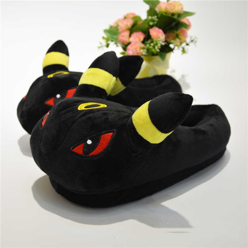 Anime Pokemon Baumwolle Pyjama Schuhe Kinder Erwachsene Pikachu Umbreon Winter Warm Halten Plüsch Hausschuhe Kinder Home Indoor Hausschuhe