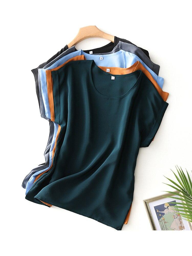 Suyadream Silk Shirt Summer Top O-Neck 100%Real-Silk Bat-Sleeved Candy-Colors Solid New