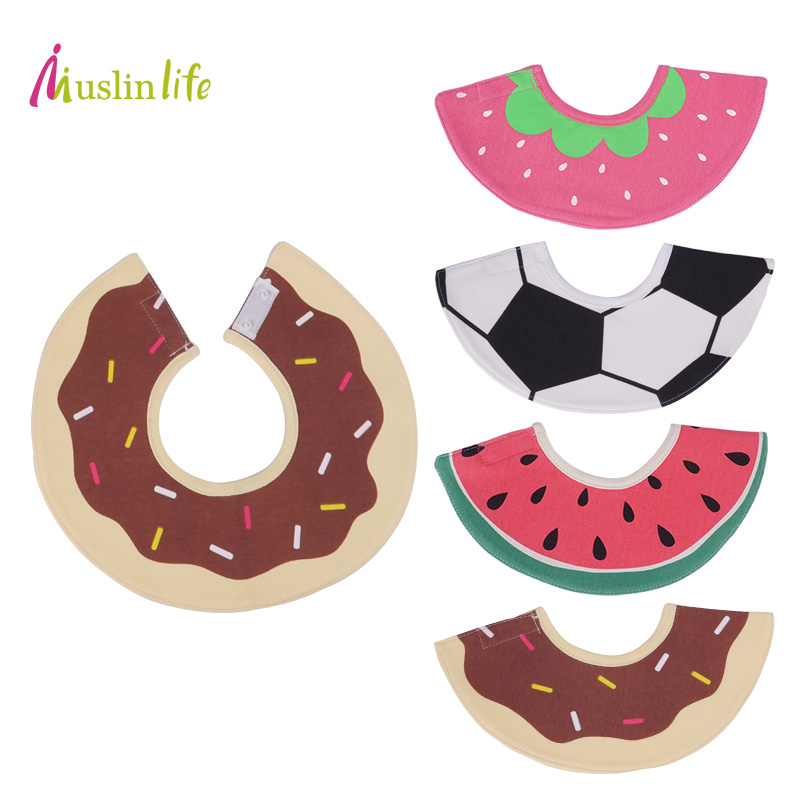 Muslinlife New Pattern Fruit Series Round Baby Bibs, Cotton Waterproof Bibs Newborn, Bur ...