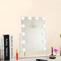 Новый светодиодный 12 лампочек зеркало портативное зеркало принцессы зеркало косметическое зеркало 3 цвета Макияж Зеркало Регулируемый сен